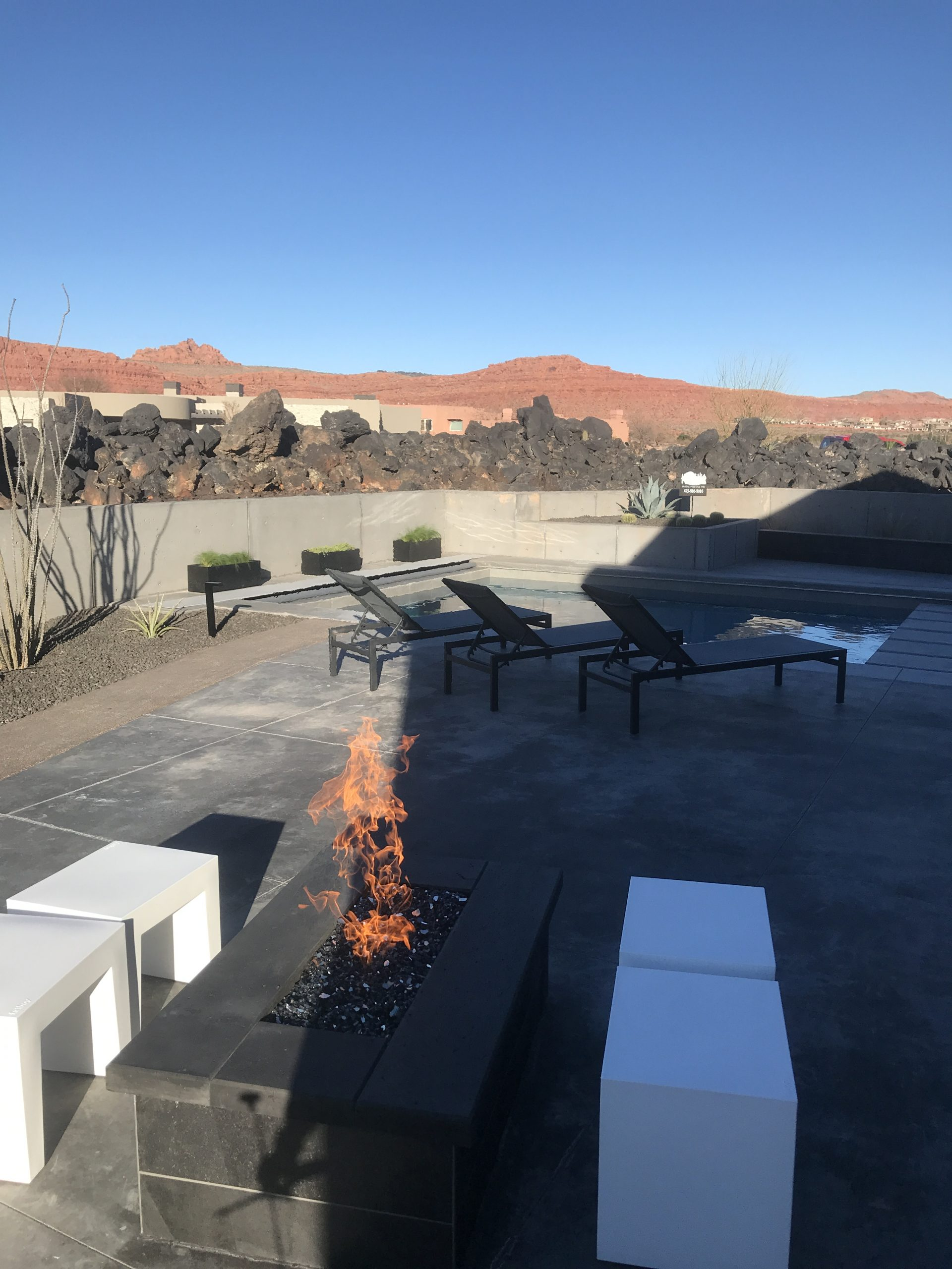 Outdoor Fire Pit by pool